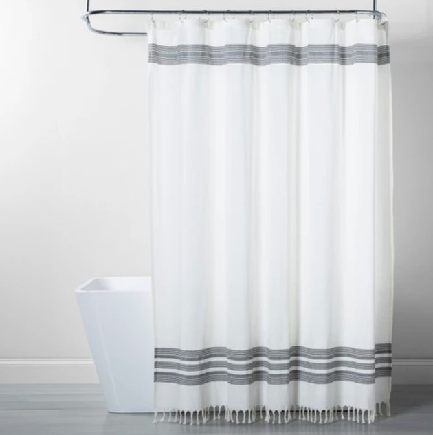 Target Threshold Strip Fringe Shower Curtain