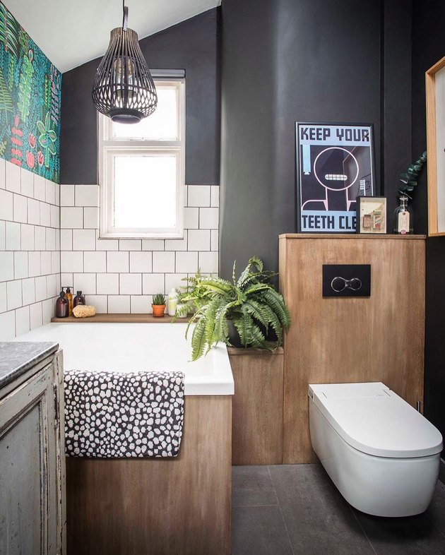 A smart type of toilet in a contemporary bohemian bathroom