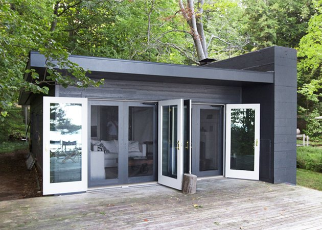 simple black modern cabin with white interior paint