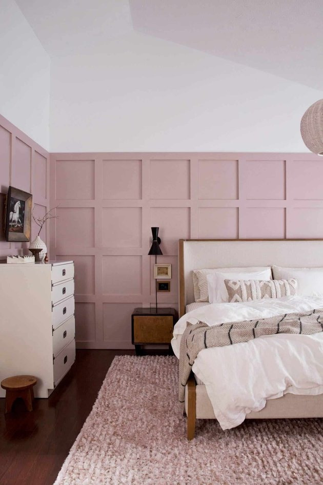 board and batten pink walls with white dresser