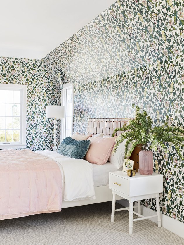 removable floral wallpaper in pink bedroom