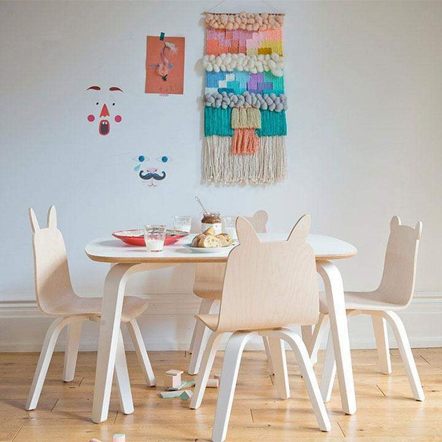 play table and play chairs in child's bedroom