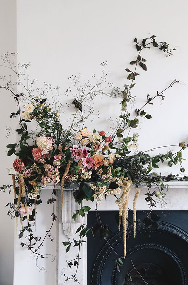 romantic fall flower arrangement on the mantel