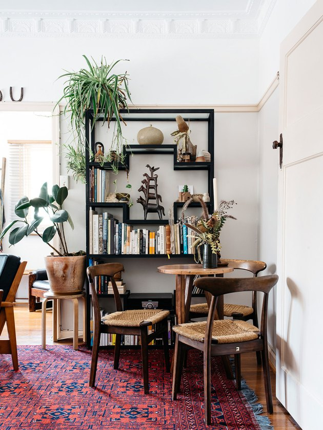 vintage midcentury modern furniture in dining room