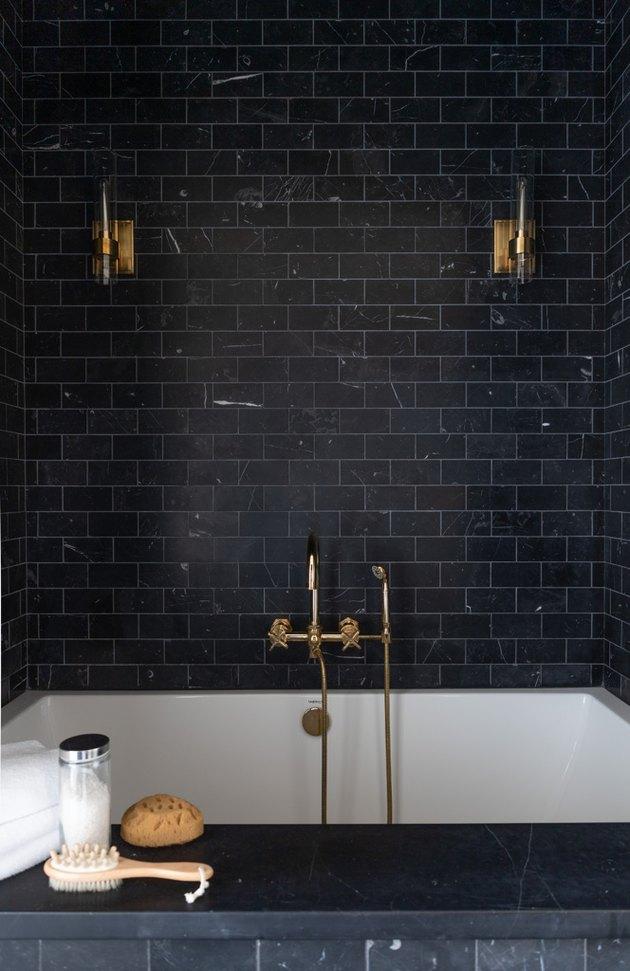 Black tile bath