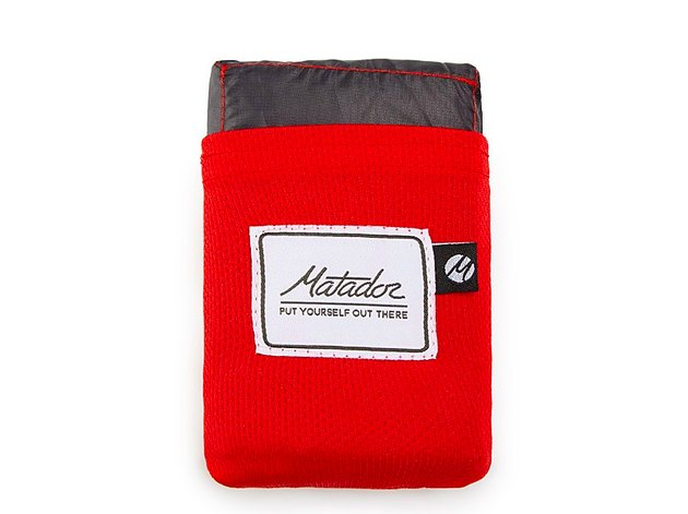 Red pouch with blanket