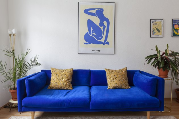 blue room ideas in living room with blue sofa