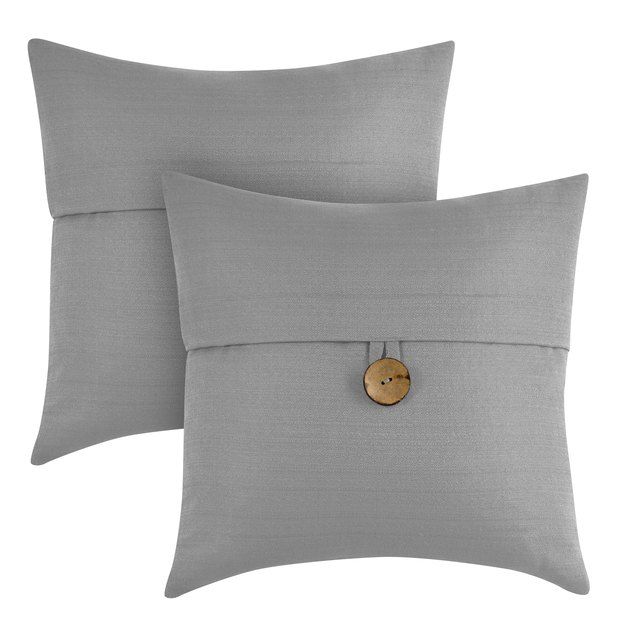 Better Homes & Gardens Feather Filled Banded Button Decorative Throw Pillow (2 pack), $24.92