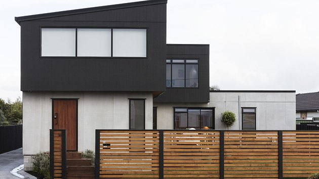 Black and white exterior paneling on modern home