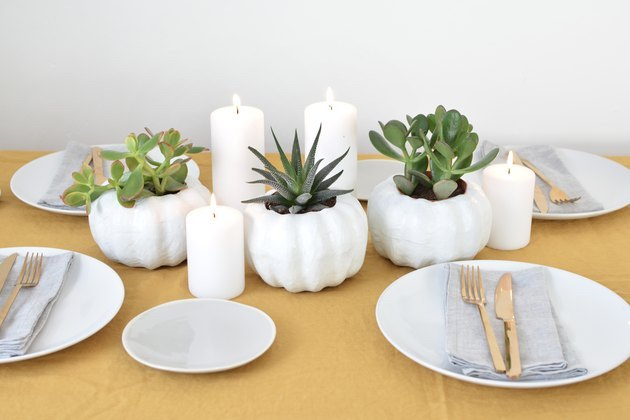 DIY fall decor idea pumpkin-shaped planter with succulents