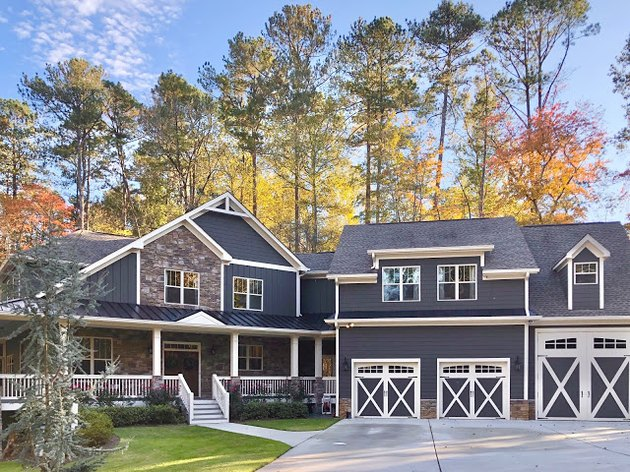 dark gray exterior paint with white trim