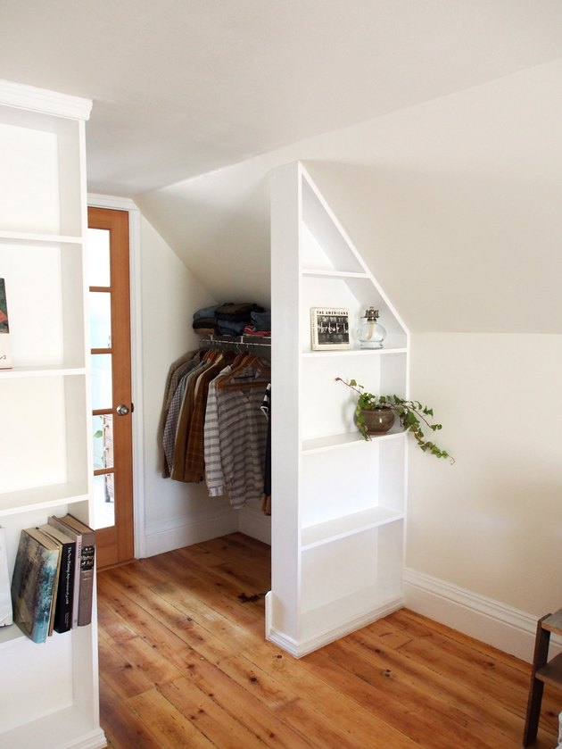 finished attic idea for closet with built-ins