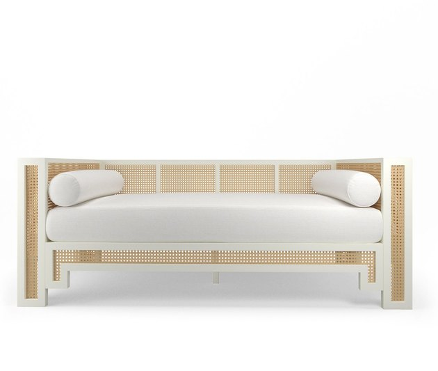 cane and lacquer daybed