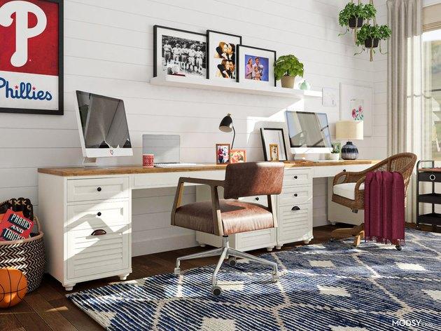 two desks in farmhouse-style office