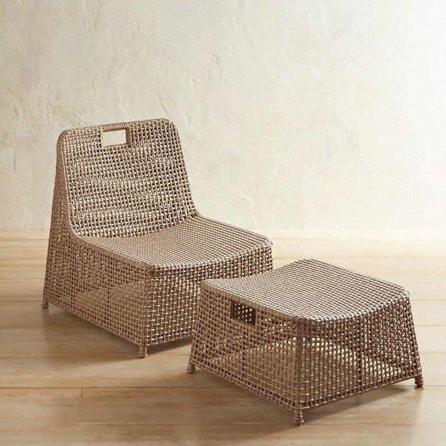 Pier 1 Laki Sand Nesting Lounge Chair & Ottomon