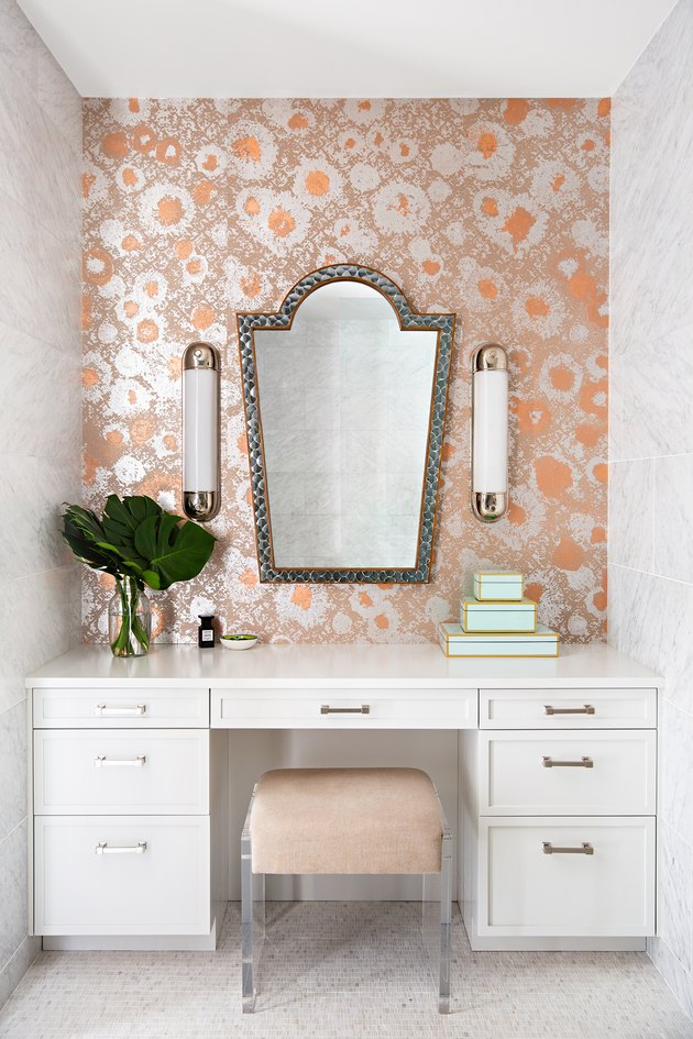vanity with abstract floral wallpaper