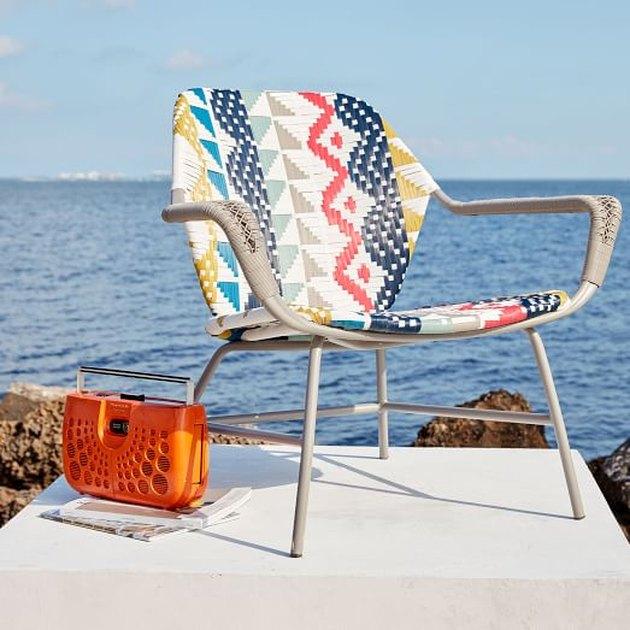 West Elm Wicker Colorblock Outdoor Lounge Chair