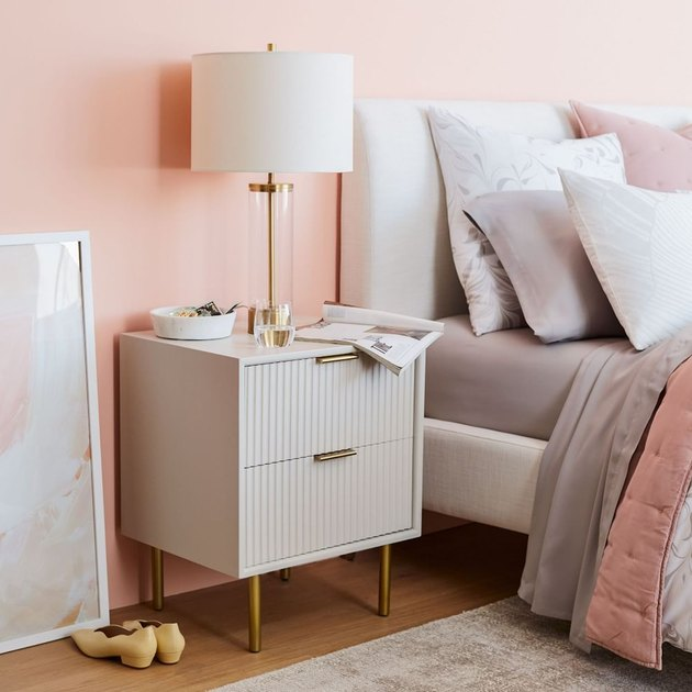 Trending Fall Decor with gray fluted nightstand in pink bedroom