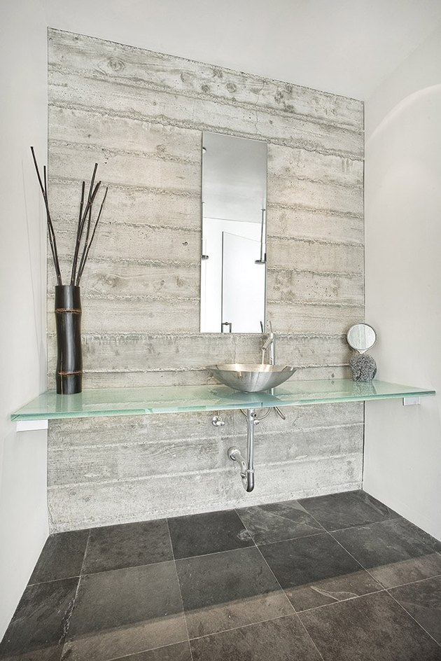 glass bathroom countertop idea in modern bathroom