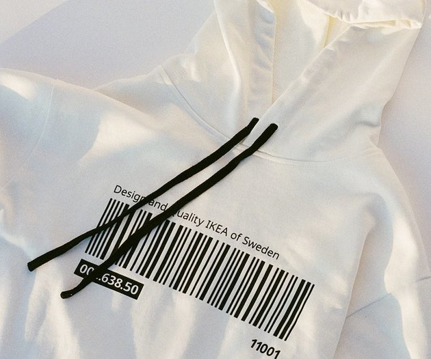 white hoodie with barcode