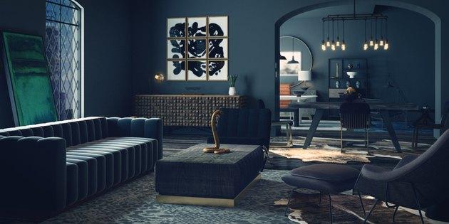 dark, moody living room