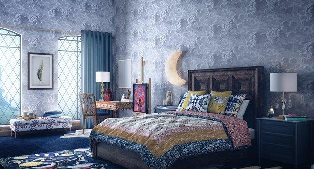 blue-hued bedroom