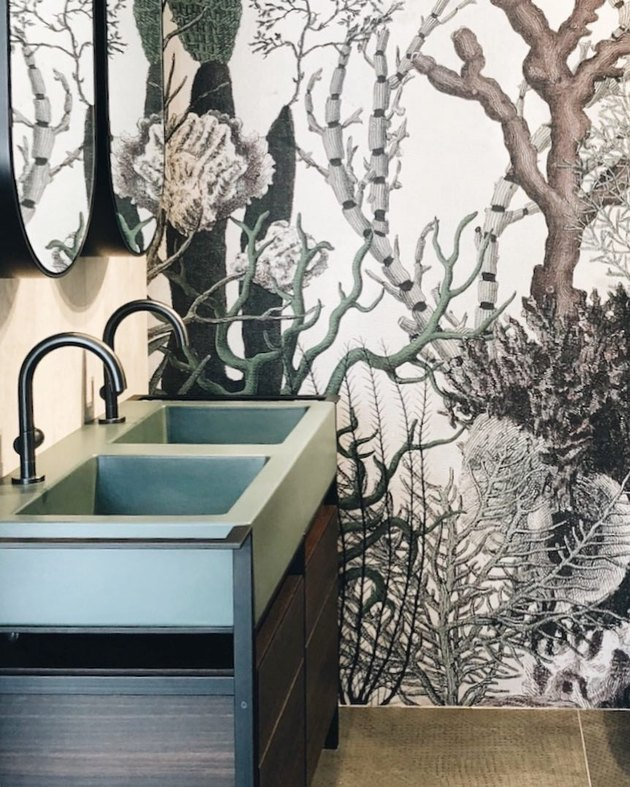Modern bathroom with ocean-inspired waterproof wallpaper