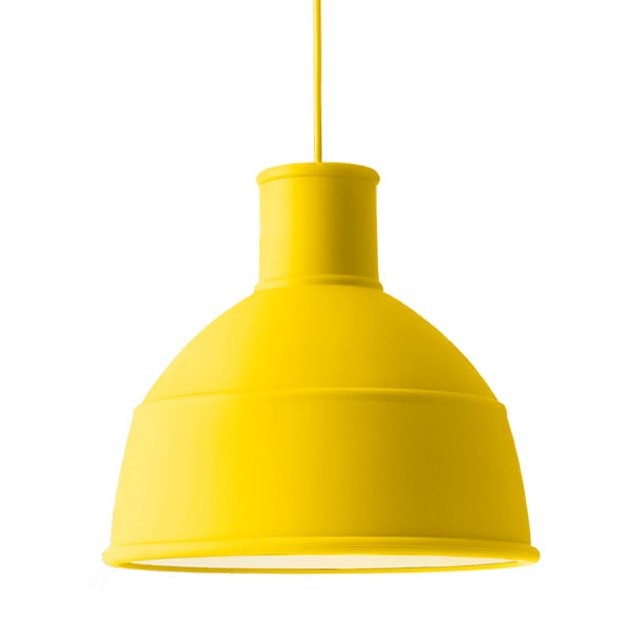 yellow industrial style pendant light