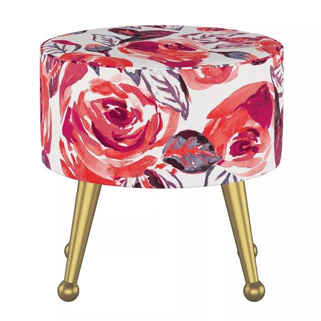 rose-patterned ottoman