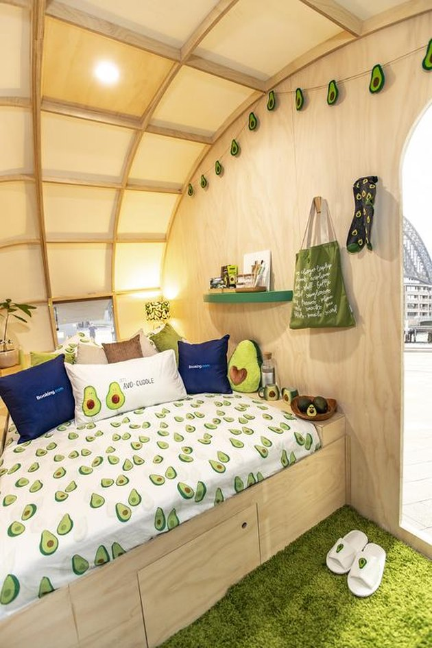 interior of trailer with avocado-themed decor