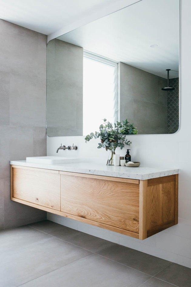 floating vanity unit with quartz bathroom countertop