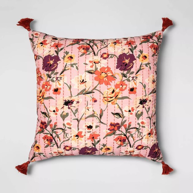 floral-patterned square throw pillow