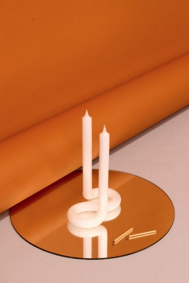 Trending Fall Decor with abstract candle on mirror