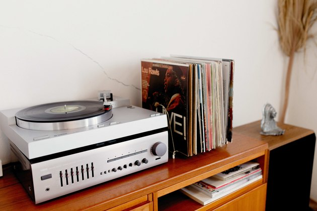 The record player in the living room.