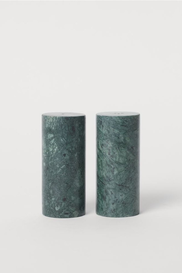 green marble salt and pepper shakers