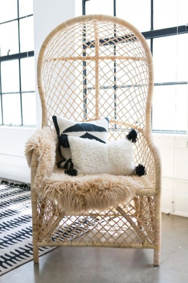 woven rattan lounge chair with high back