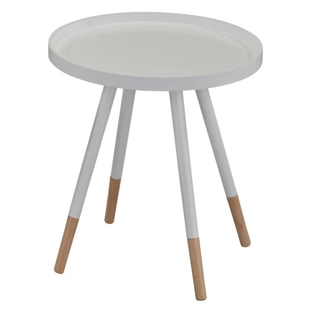 four-legged round mid-century end table, white with lower 1/4 of legs plain wood