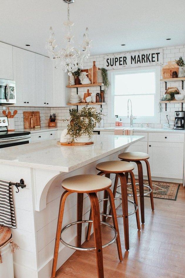 chandelier style kitchen ceiling light in white farmhouse kitchen