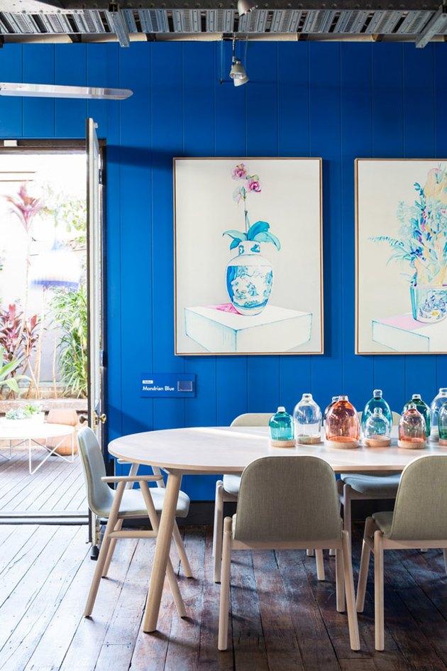 bright blue sunroom dining room