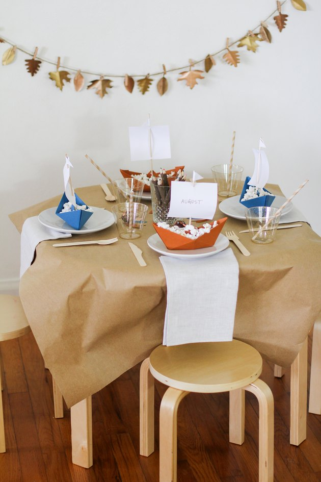 Butcher paper kids' Thanksgiving tablecloth