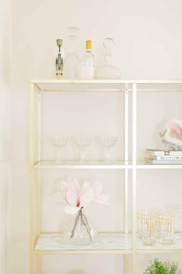 Gold and marble shelving