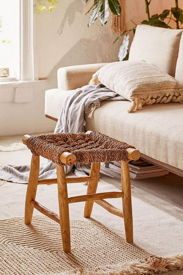 bohemian accent stool with woven seat
