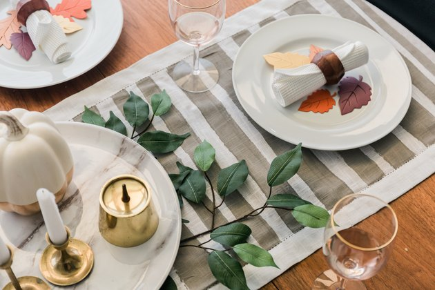 Simple striped DIY Thanksgiving tablecloth