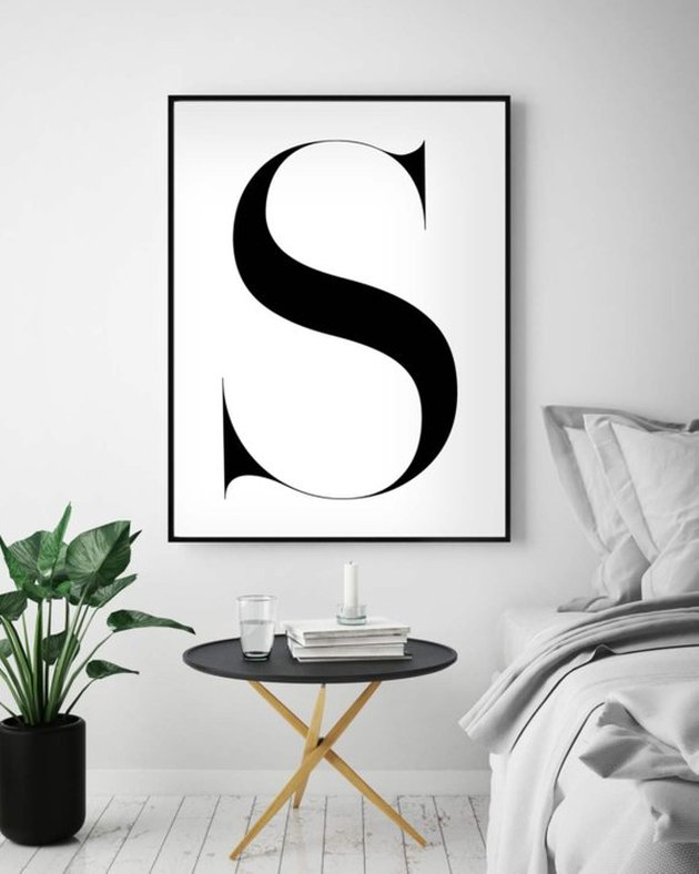 High-resolution black and white print of the letter S