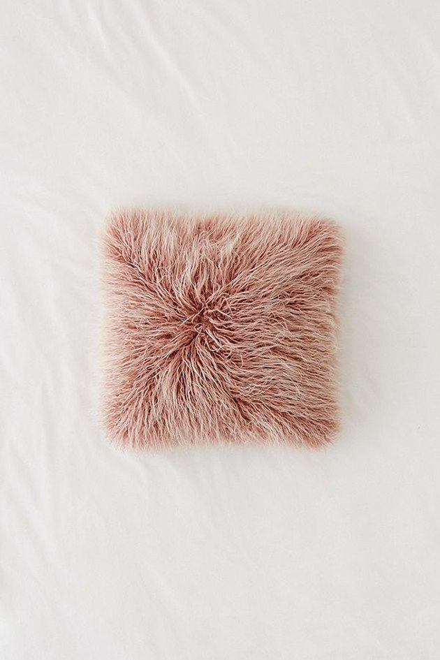 Shaggy faux-fur blush throw pillow