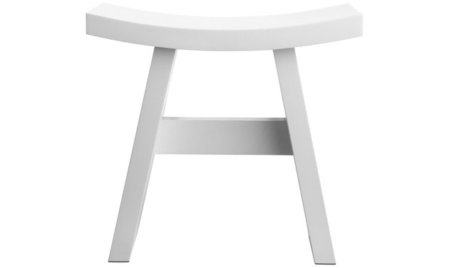 white wooden accent stool