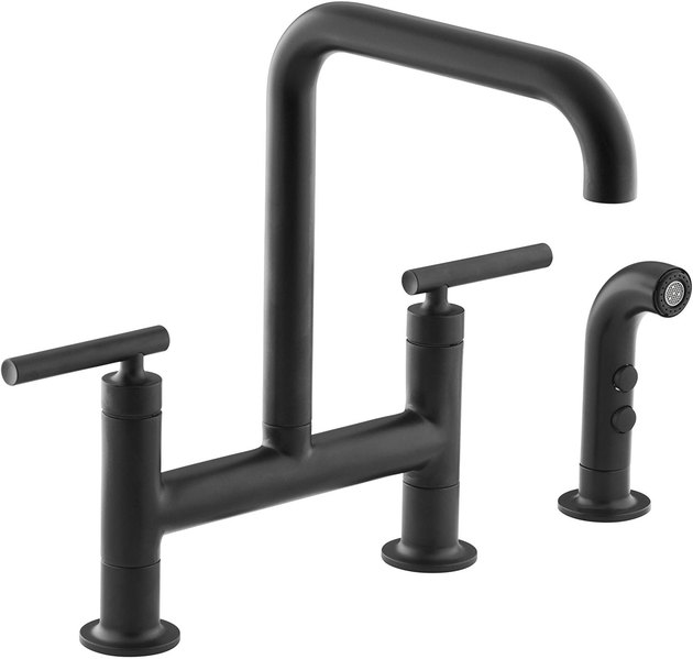 Matte black L-shaped faucet with matching sprayer