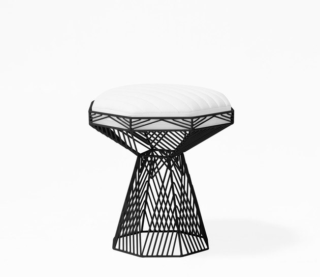 wire frame accent stool with seat cushion