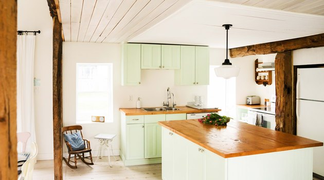 Green Room Ideas with Minty green kitchen cabinets