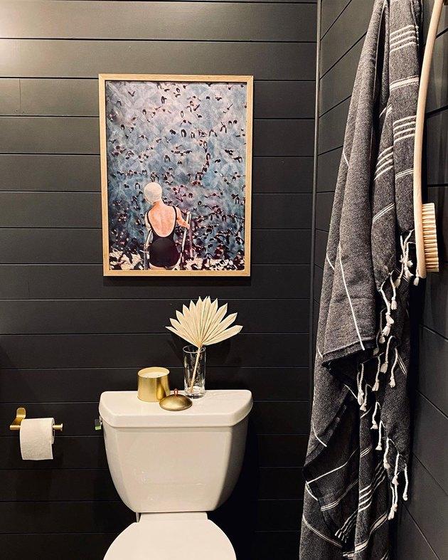 black shiplap walls basement bathroom idea